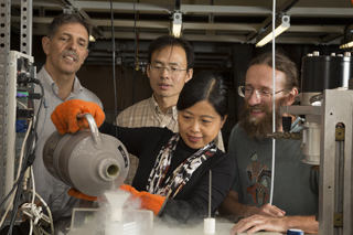 From left to right are Robert Belnap, Junpeng Deng, Aihua Xie and Wouter Hoff.